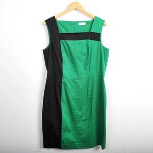 CALVIN KLEIN Green and Black Sheath Dress with Back Zip. Size 12